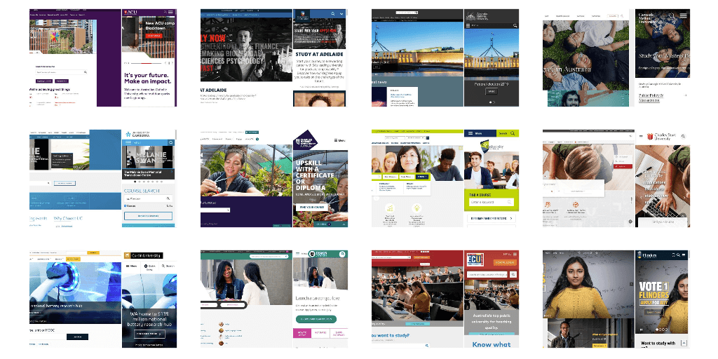 Australian and New Zealand University Website Homepage Designs