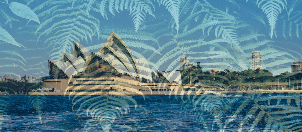 image with New Zealand fern overlayed on Sydney Opera House