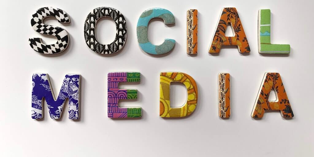 image of letters spelling out the words social media