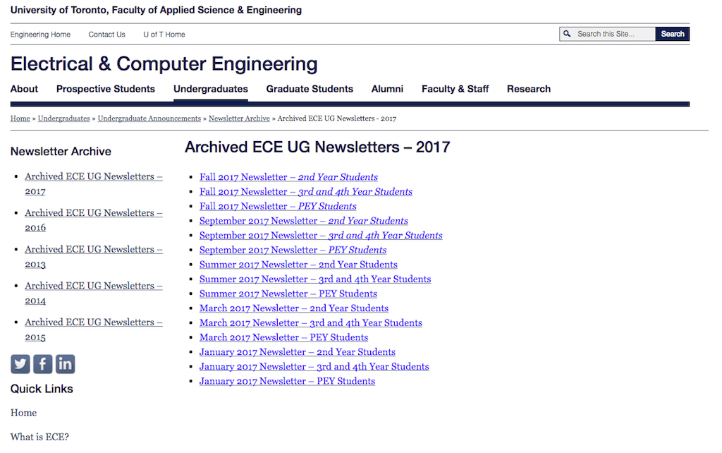 example of typical university website with listing of links to PDF files