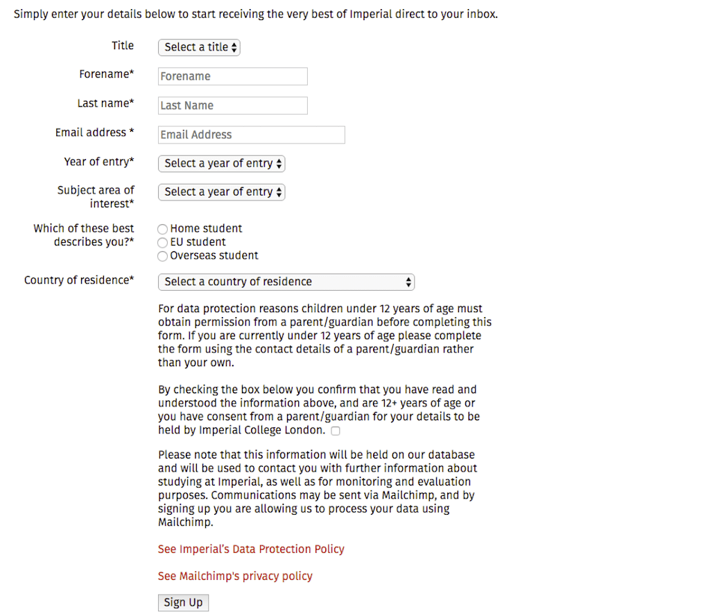 example of university website form